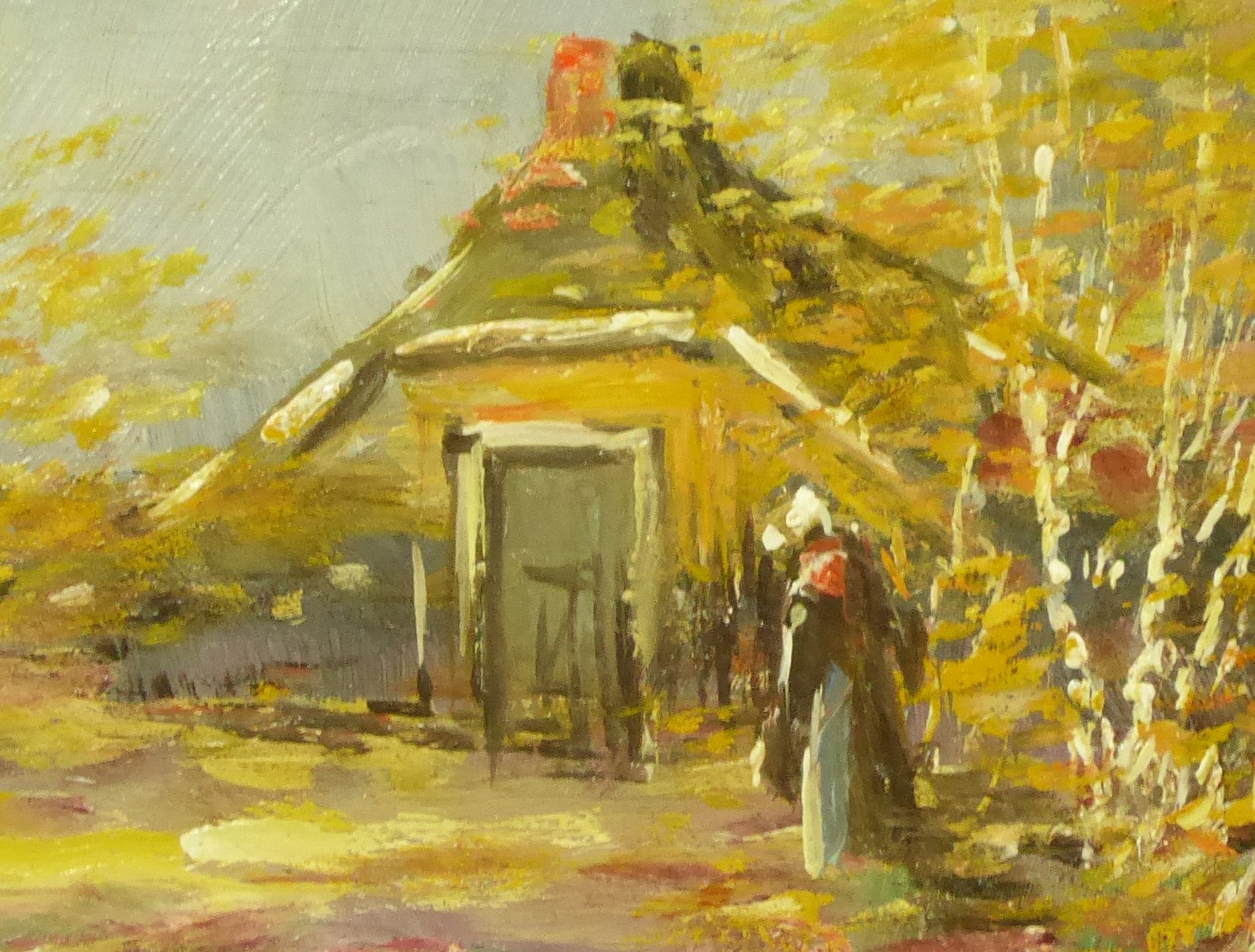 Farmhouse with lady in landscape