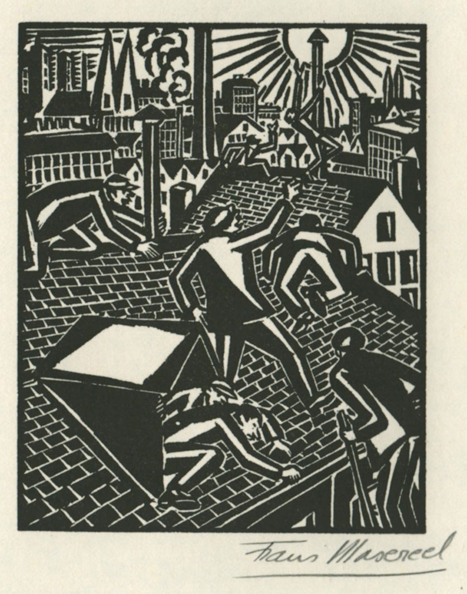 Woodcut by Belgian artist Frans Masereel from the work le soleil 1919