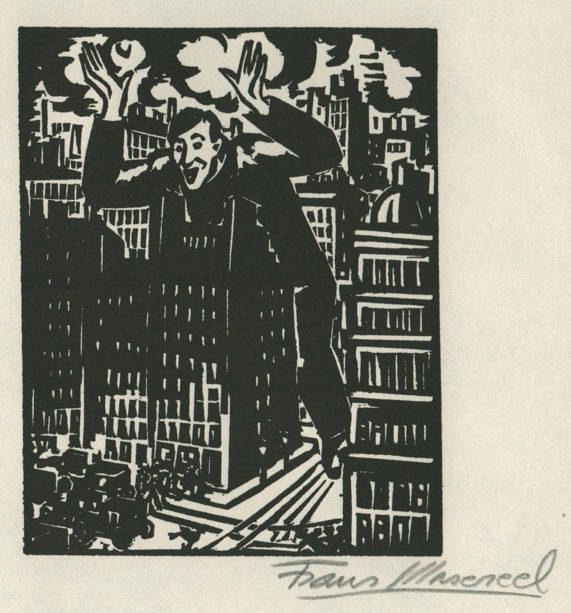 Woodcut by Belgian artist Frans Masereel from the work l\'oeuvre from 1928
