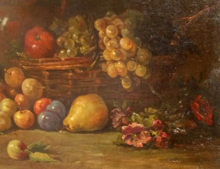 Stilleven Fruit en bloemen 1892