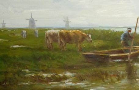 Boot en koeien in een Hollands landschap