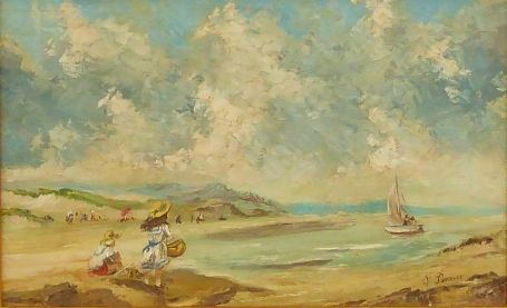Girls playing at the beach